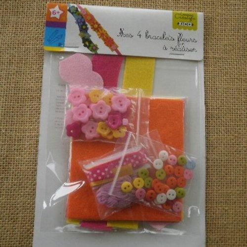 Kit pour réaliser 4 bracelets fleurs en feutrine , coloris jaune , orange et rose