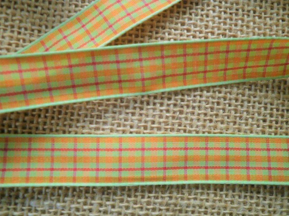 Deux mètres de ruban en polyester écossais  orange , vert et bordeaux , largeur 16 mm