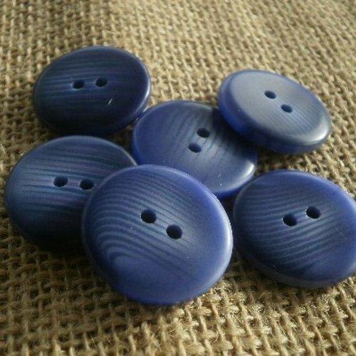 Boutons ronds x 6 à deux trous , coloris bleu violet changeant , diamètre 23 mm
