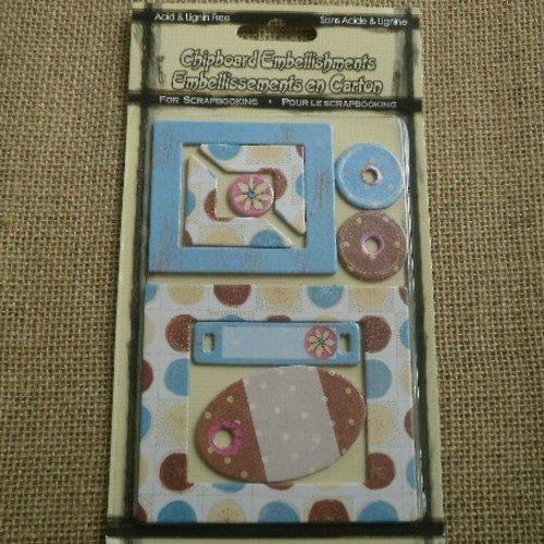 Plaque de 9 découpes pour scrapbooking en carton  , différents coloris et tailles