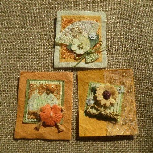 """Lot de 3 embellissements en papier fantaisie décoré """"thème fleurs"""" , coloris orange et jaune ,  taille 7,5 x 6,2 cm"""
