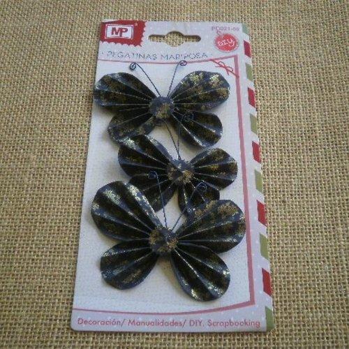Lot de 3 stickers papillons en carton fin  , coloris noir motifs dorés ,  taille 8 et 6,5 cm