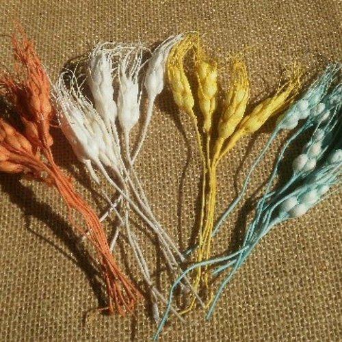 Lot de 26 épis de blé en papier , coloris orange , turquoise , jaune et blanc , taille environ 15 x 1,7  cm