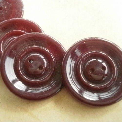 Mercerie lot de 5 boutons plastique bordeaux et blanc 14mm button