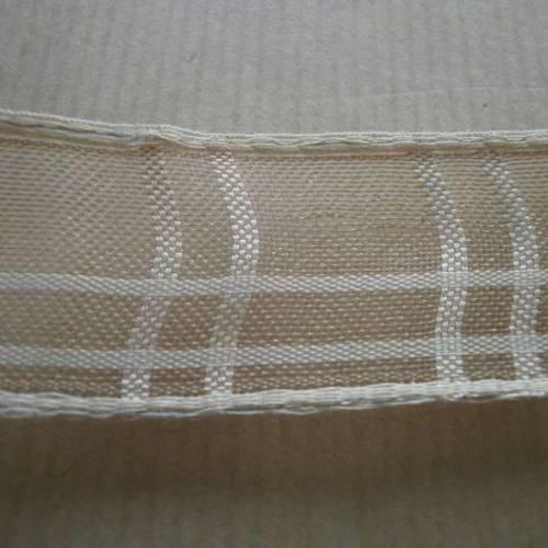 Ruban  en polyester  , motifs carreaux beige et ecru