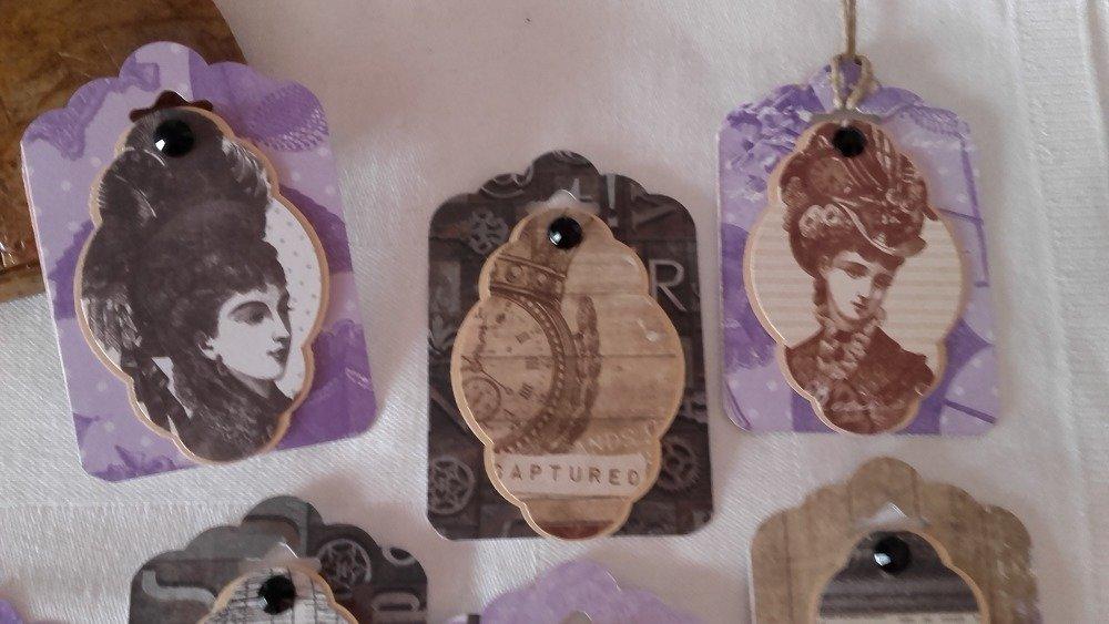 Lot de 7 Étiquettes cadeau Tags Steampunk 2