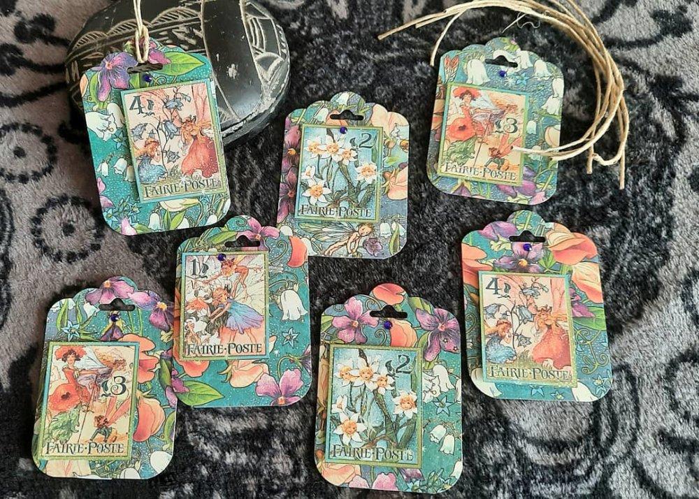 Étiquettes  cadeaux fées ,vintage,  anniversaire,naissance,baptême