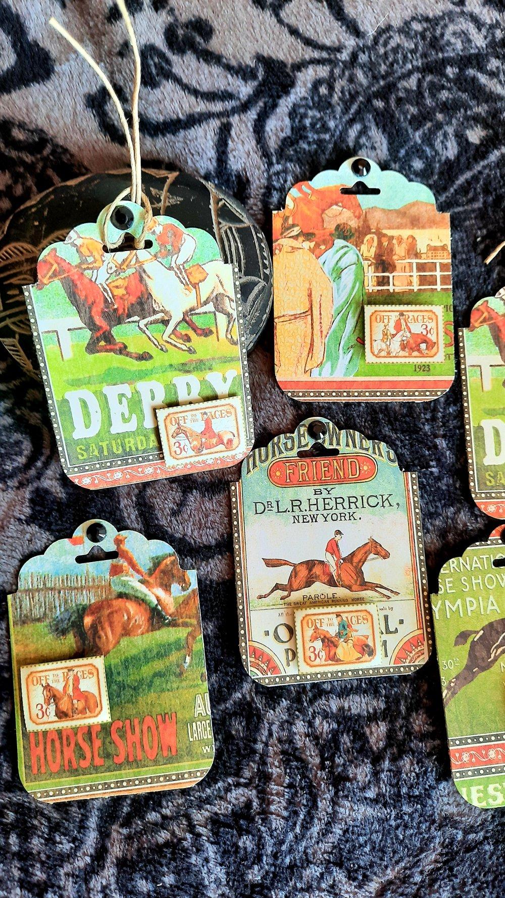 Étiquettes  cadeaux courses hippiques, chevaux,,vintage, fête des pères ,  anniversaire