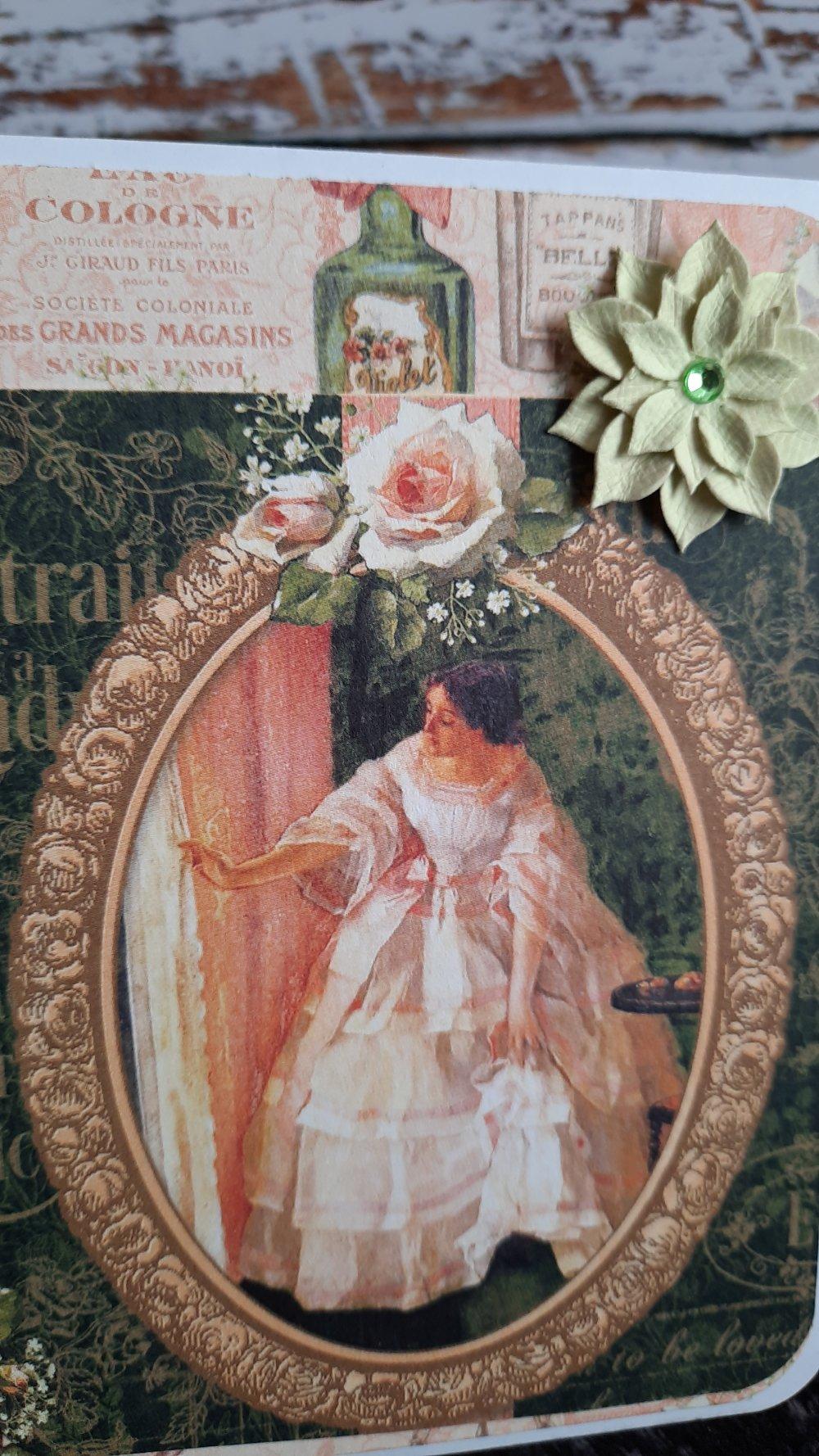 Carte postale portrait vintage, anniversaire, fête des mères,