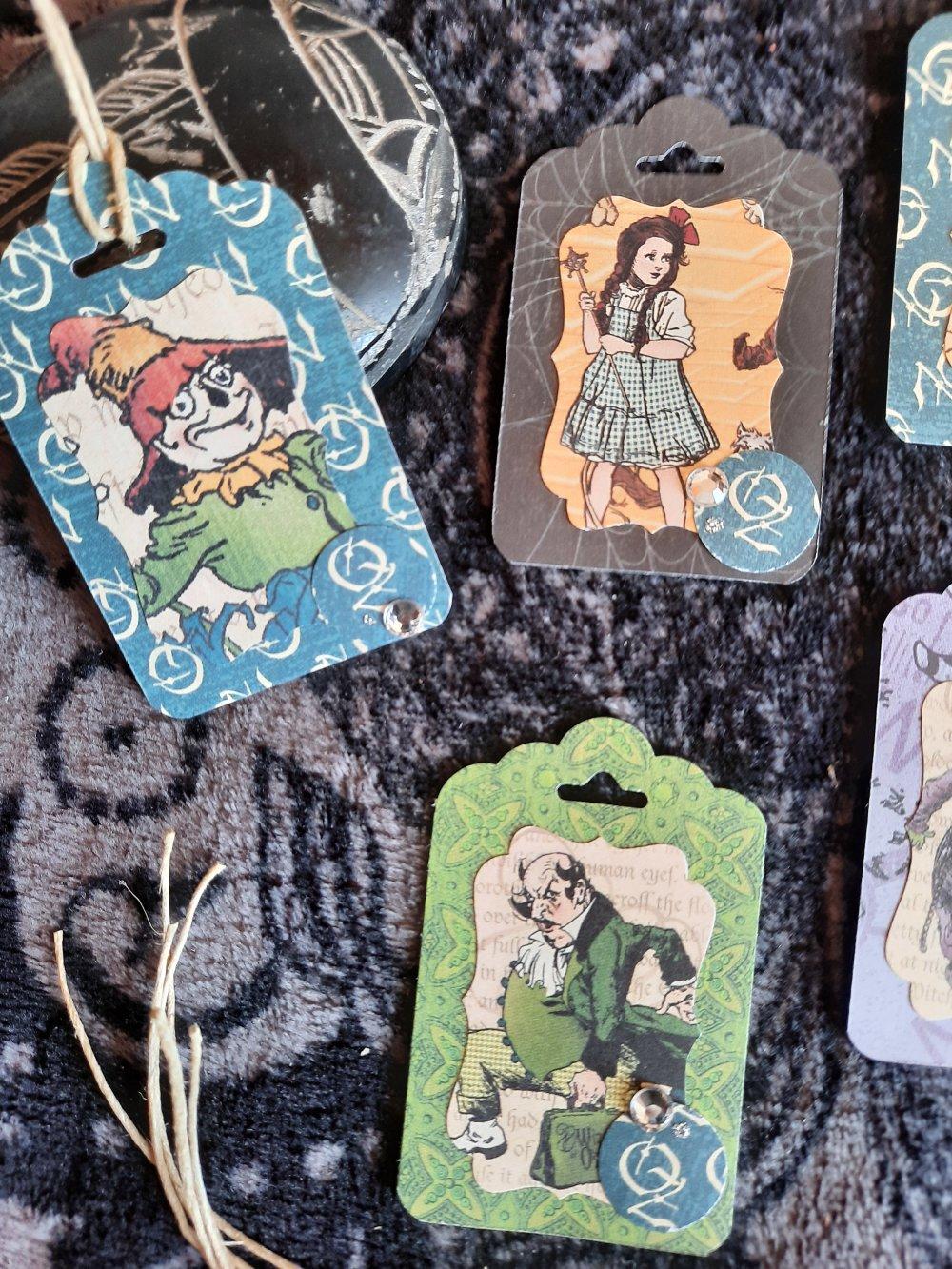 Étiquettes  cadeaux magicien d Oz ,vintage,  anniversaire 2