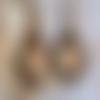 Boucles d'oreilles bronze pendante, rose vintage, shabby,fête des mères