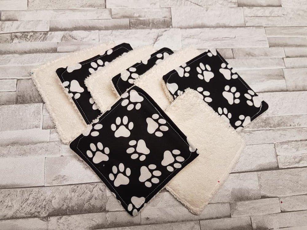 Lot de 8 lingettes réutilisable Collection Pattes de chien /eponge ivoire/lingettes démaquillantes /carré à démaquiller