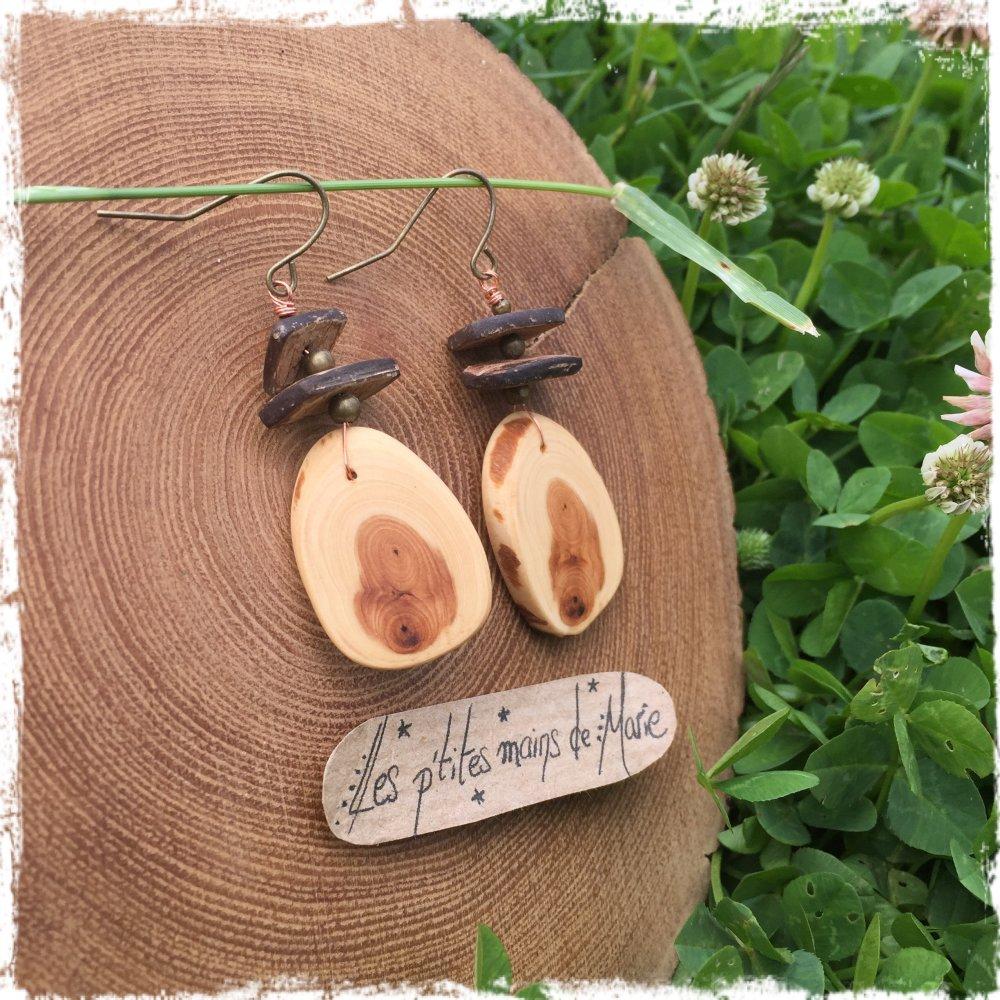 Boucles d'oreilles en bois, if et coco