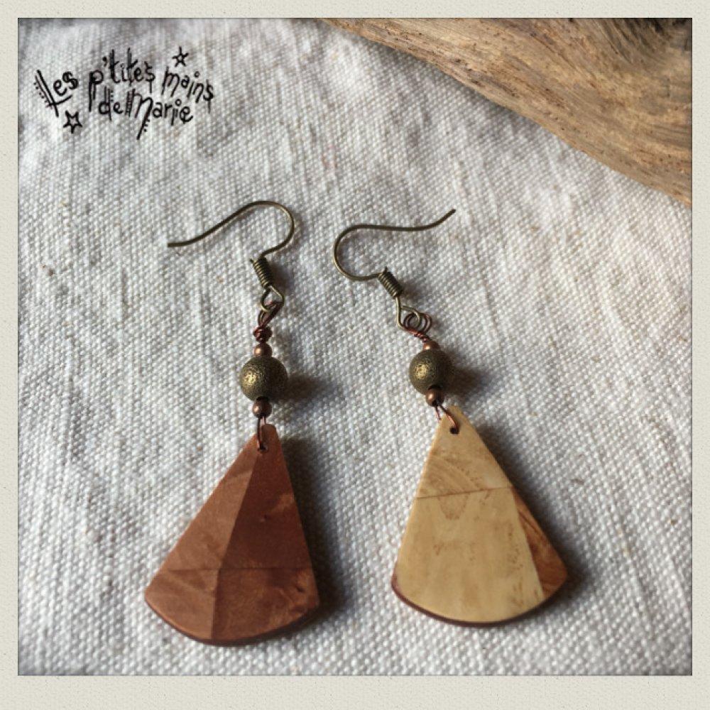 Boucles d'oreilles en bois triangles
