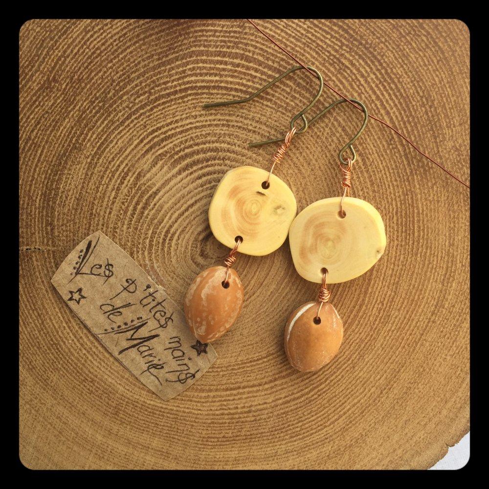 Boucles d'oreilles en bois (buis) et noyaux