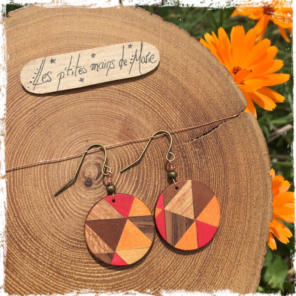 Boucles d'oreilles en bois, cercles