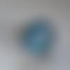 Bague cabochon en verre à paillettes bleu turquoise et sequins argenté, support ajustable en métal argenté, accessoire femme
