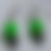 Boucles d'oreilles à strass de cristal blanc, perle verte, hématite noire, métal argenté, bijoux femme