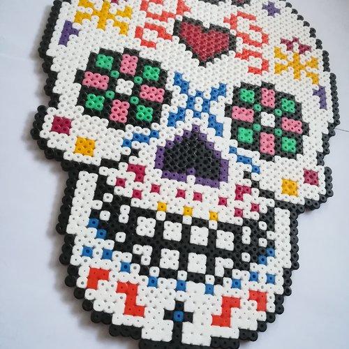 Halloween Tête De Mort Mexicaine Blanche Multicolore