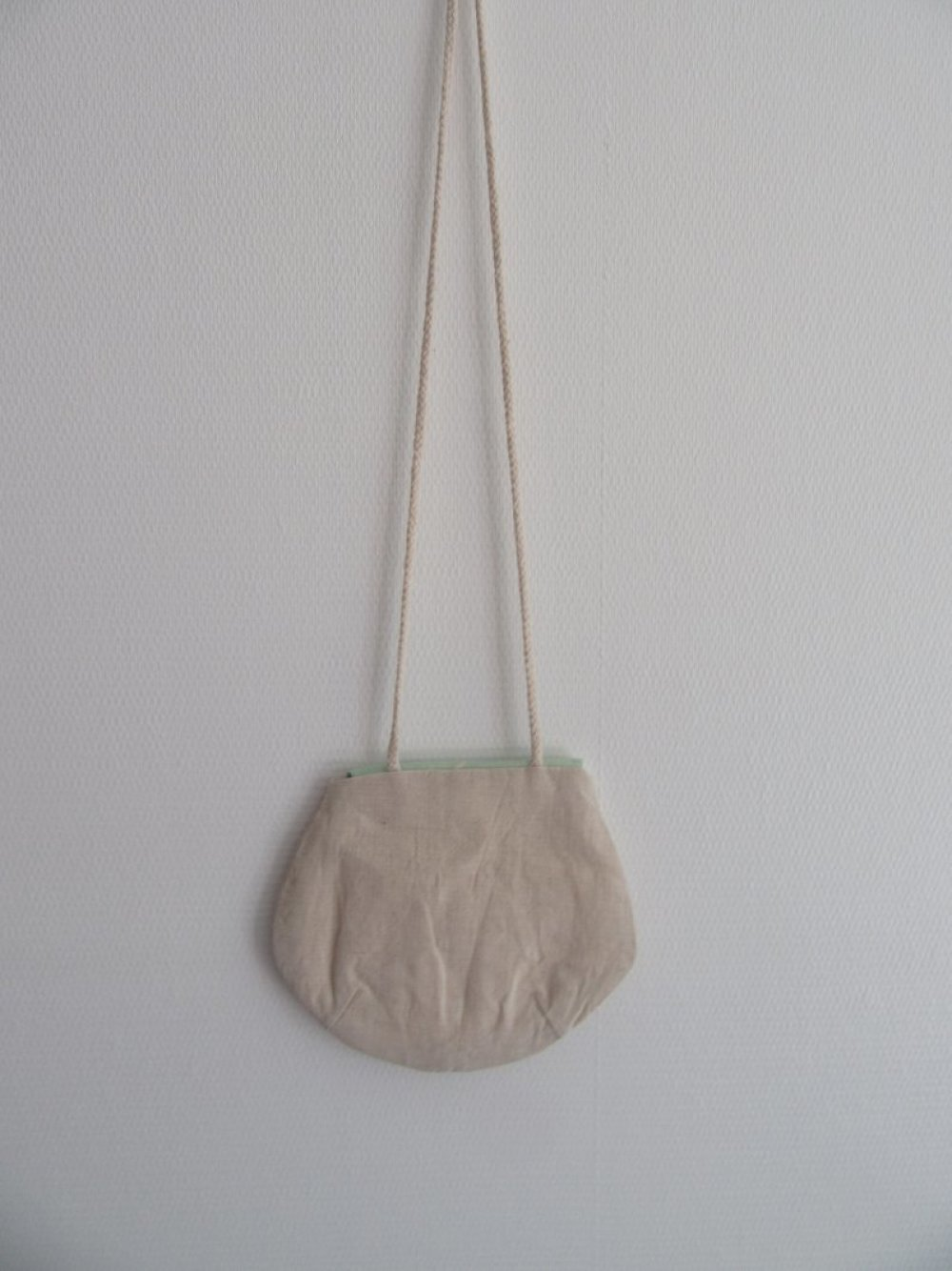 Sac rond pour fillette en lin naturel et coton vert