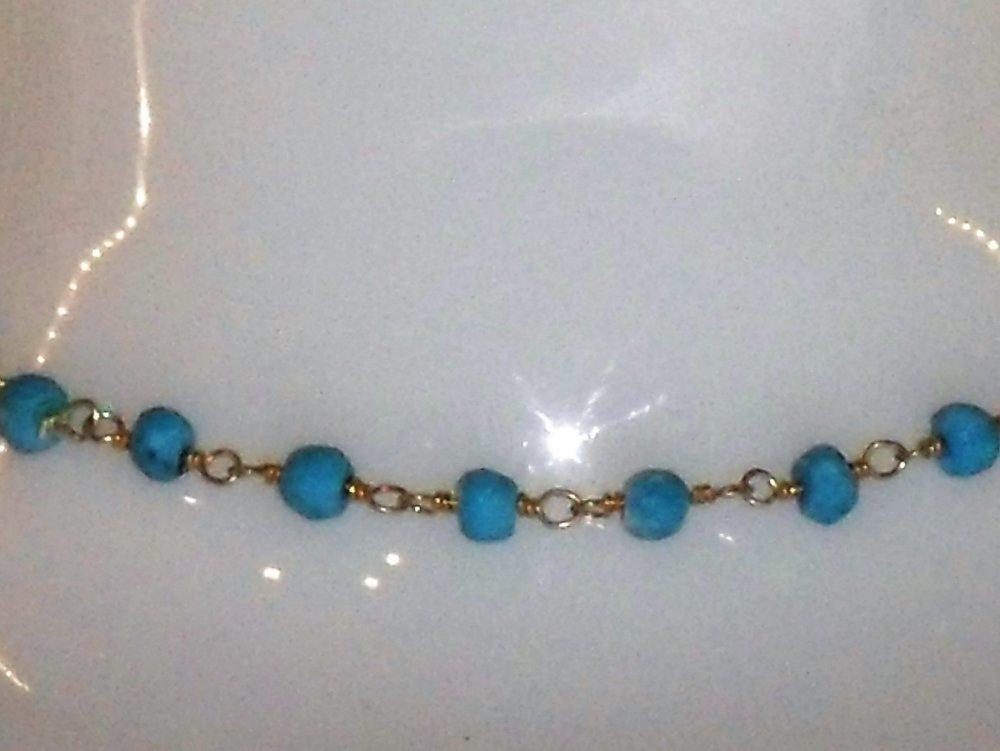 bracelet turquoise et vermeil