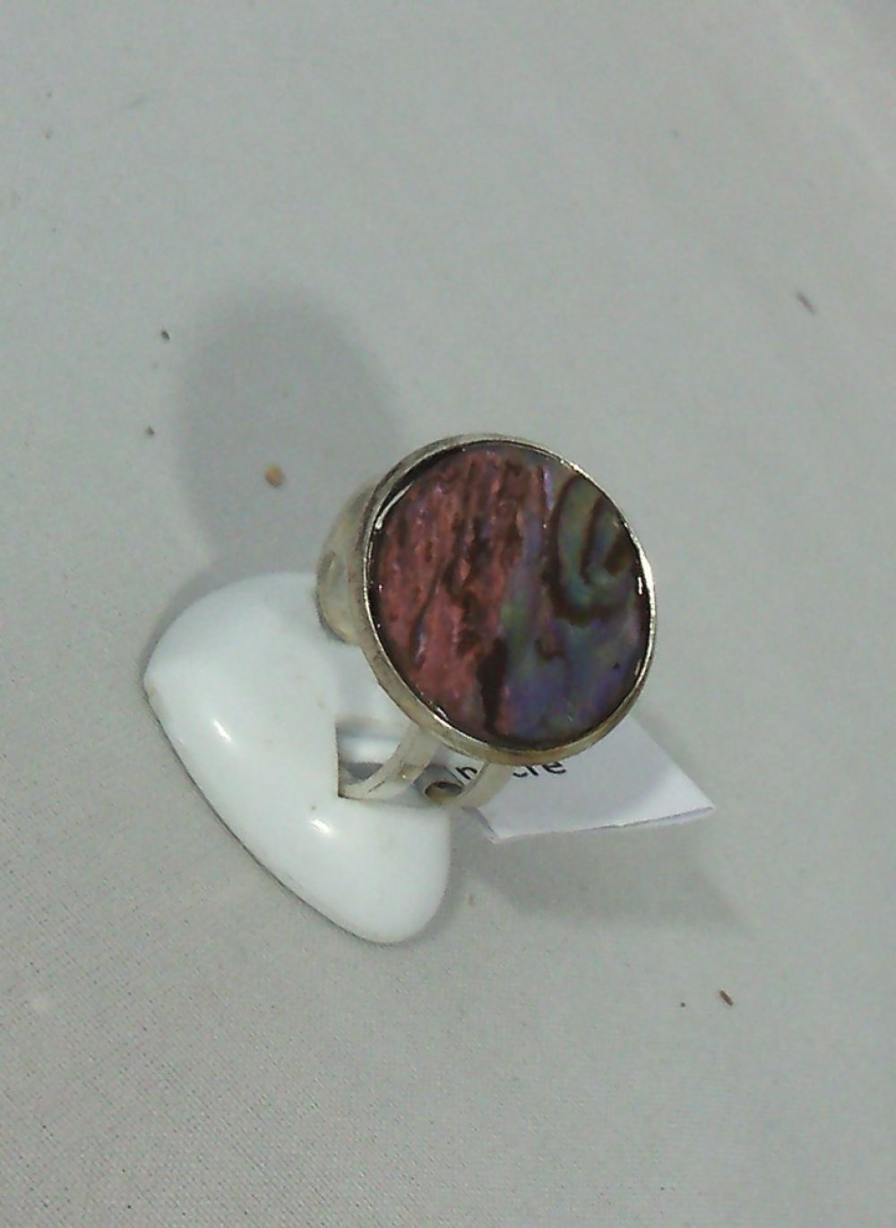 bague nacre abalone rose ronde 20 mm