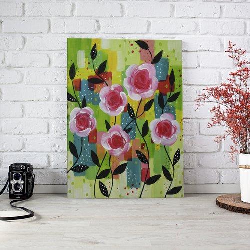 Peinture abstraite - roses sur fond abstrait