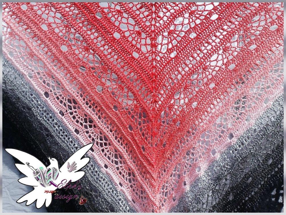 Châle MINA fait main au crochet,mohair et coton
