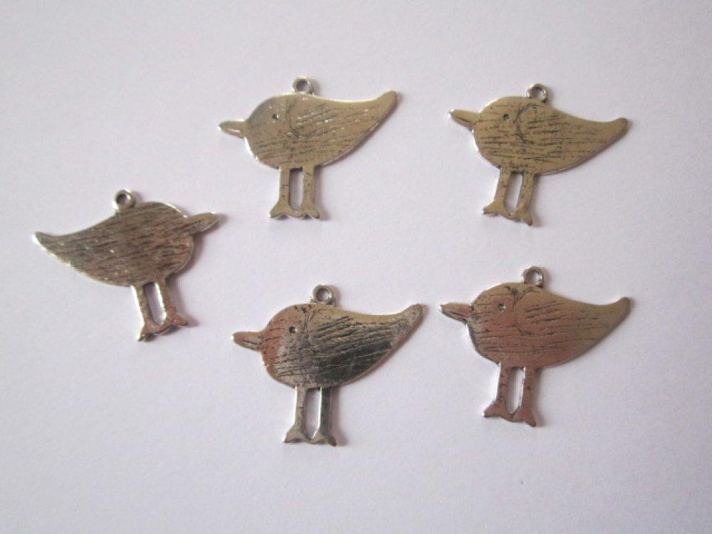 2 breloques oiseau métal argenté