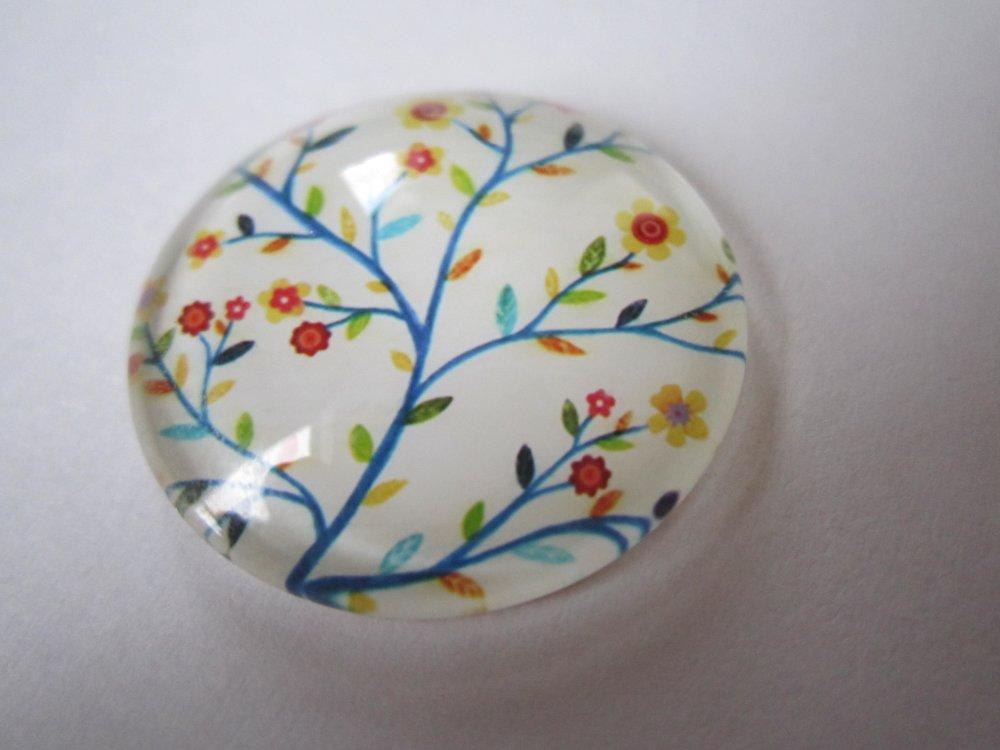 1 cabochon 25 mm décoré arbre multicolore