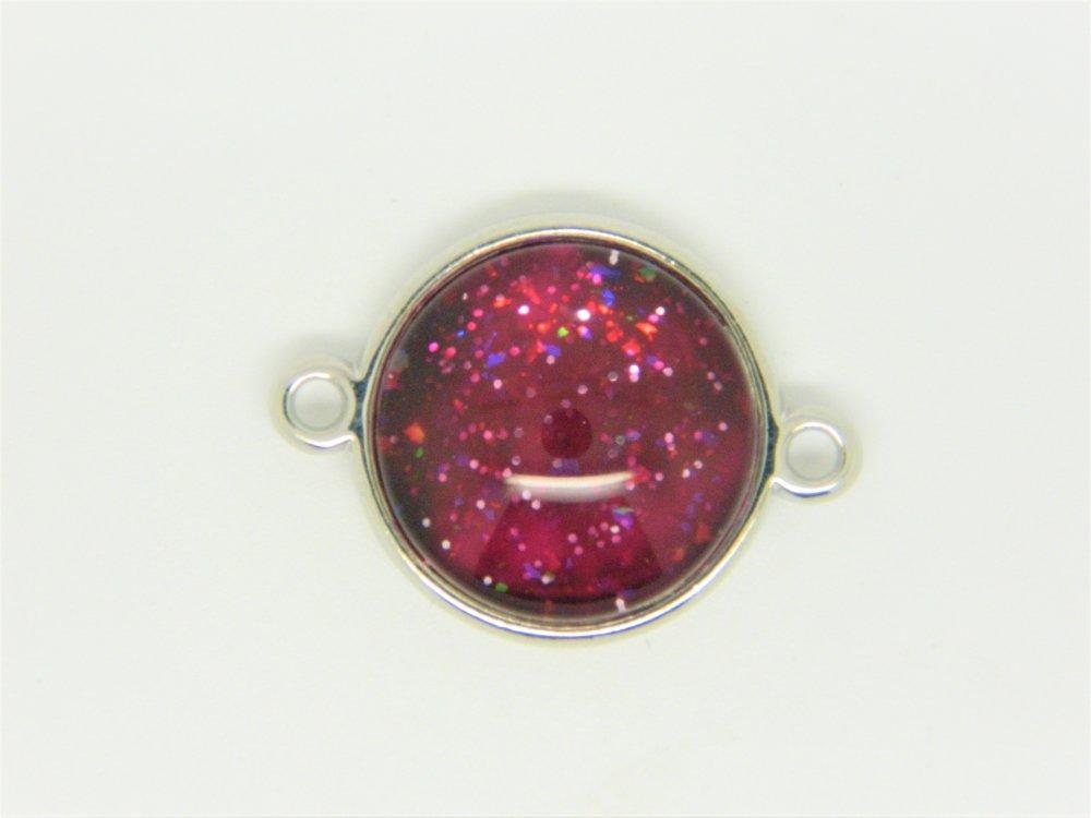 Cabochon rond verre 14mm rouge +connecteur argenté