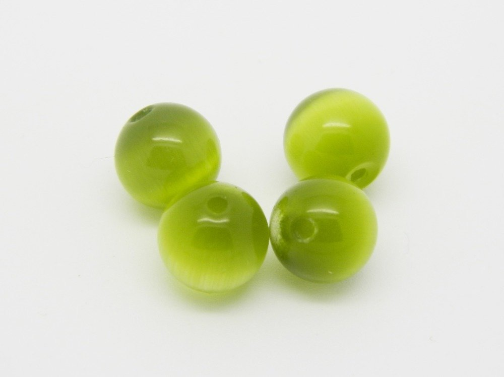 8x perle ronde oeil de chat vert 7mm