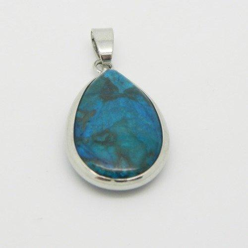 1x  pendentif pierre bleu serti 35mm