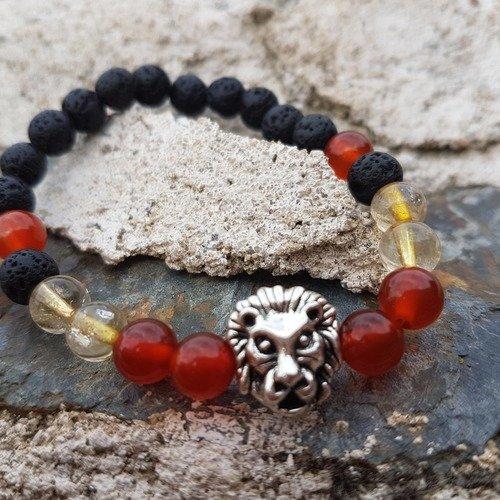 Bracelet en pierres naturelles pierres de lave, cornaline et citrine