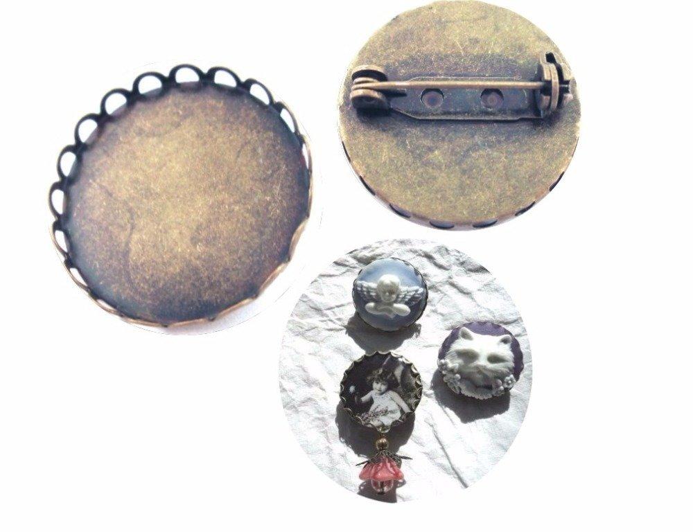 Lot de 10 Supports de broche pour camée, cabochon 25 mm;couleur bronze