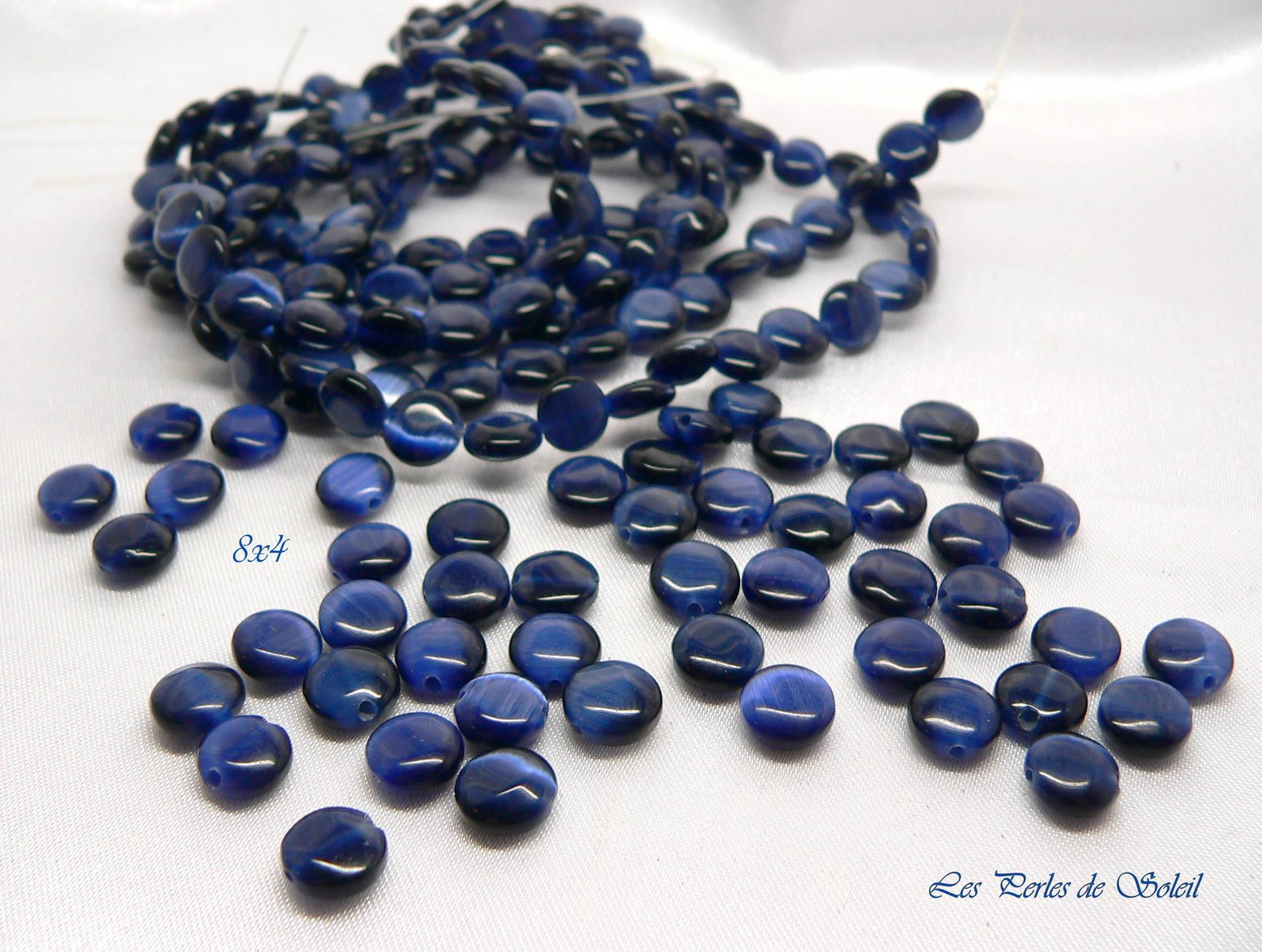 25 perles palets pierre naturelle bleue 8x4mm