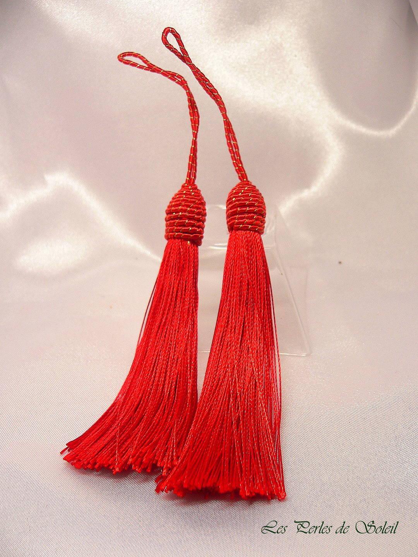 Couleur Avec Du Rouge 2 grands pompons avec coupelle en corde couleur rouge 12 cm