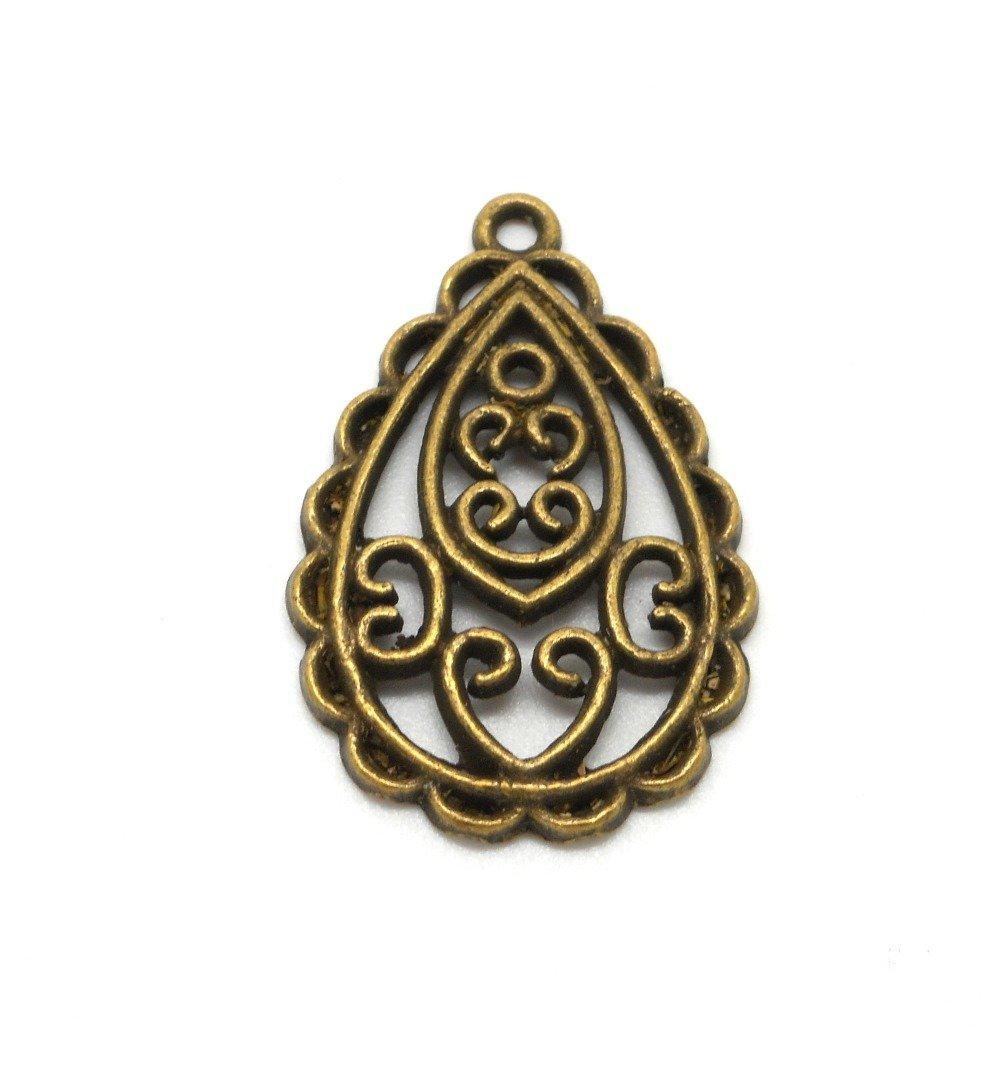 Pendentif ou breloque en forme de goutte aux motifs ajourés de couleur bronze.