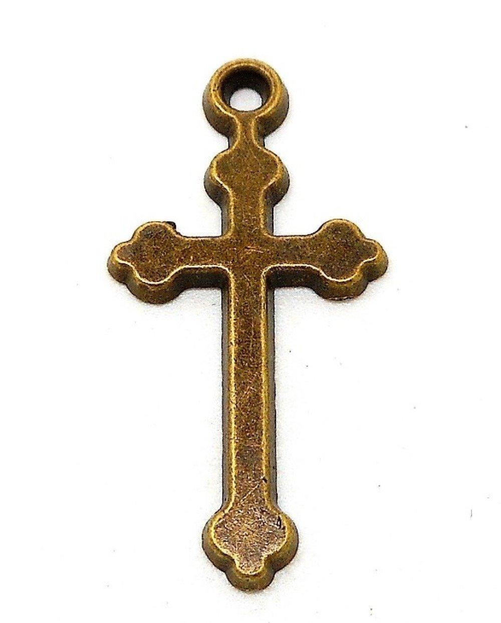 Breloque ou pendentif croix métal bronze