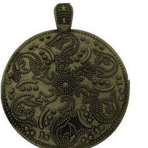 Très grand pendentif rond motif fleur travaillé bronze