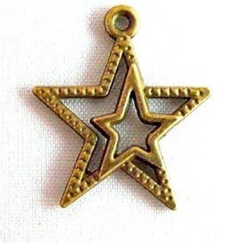 Double étoile de couleur metal bronze
