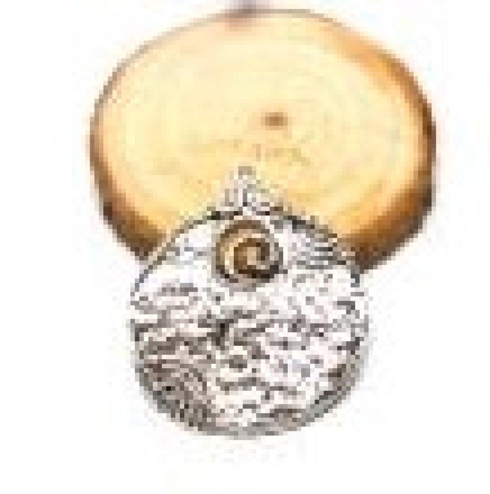 Grand pendentif ethnique rond couleur argenté
