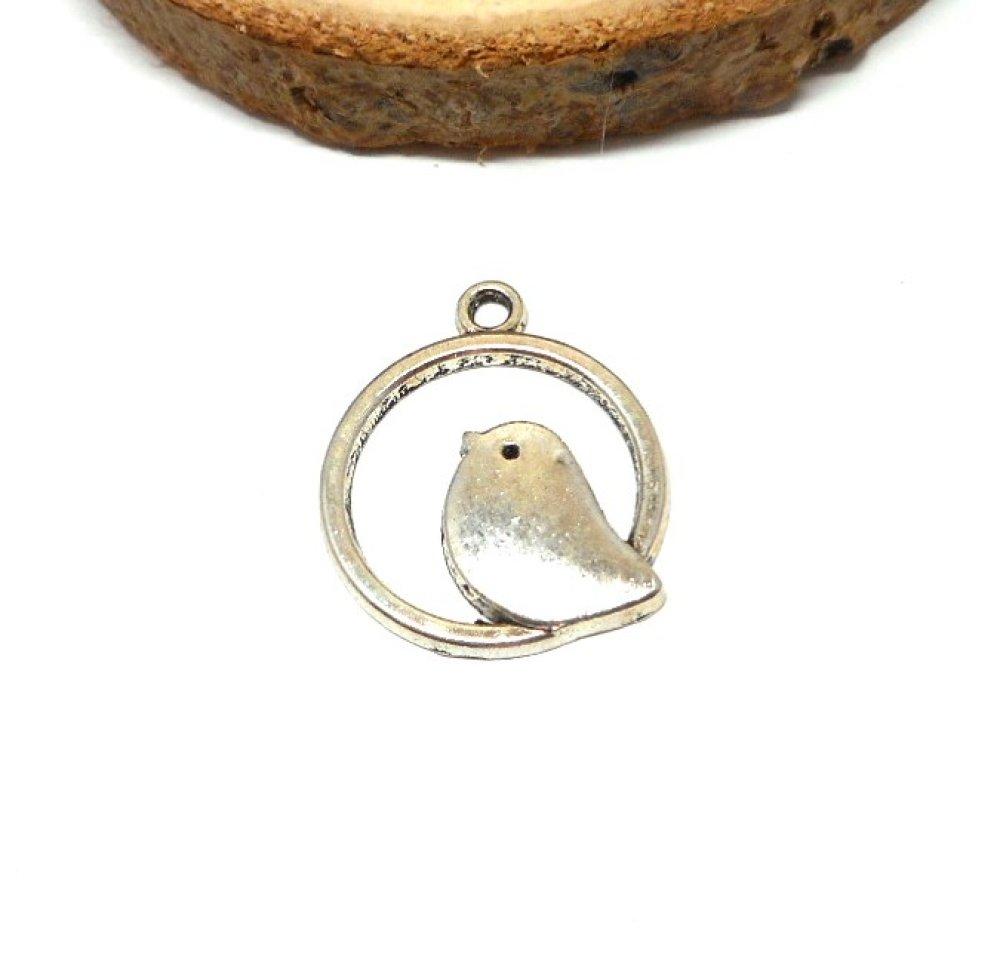 breloque oiseau ronde couleur argent