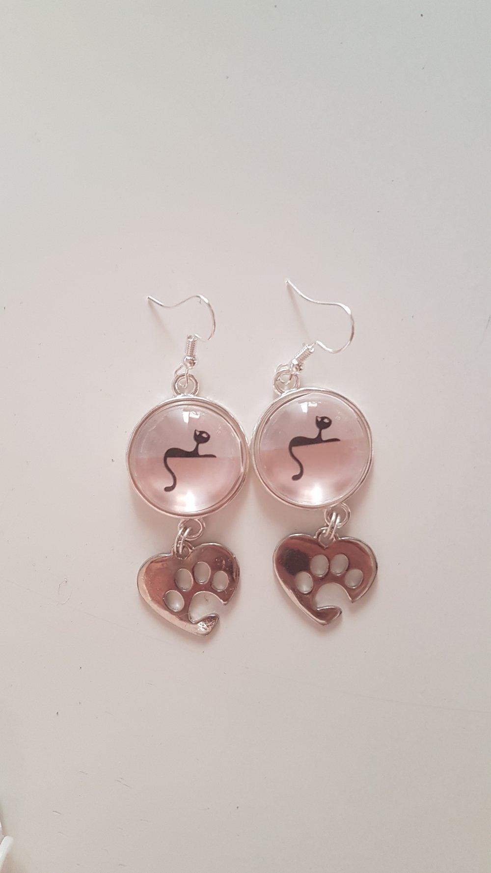 Boucles d'oreilles en Cabochon-Petit chat