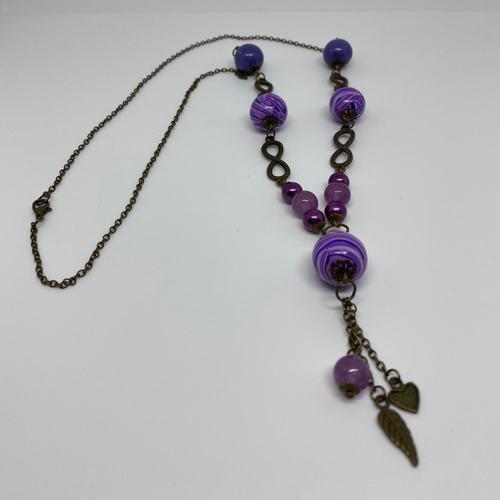 Sautoir fimo violet