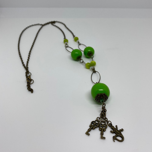 Sautoir fimo vert
