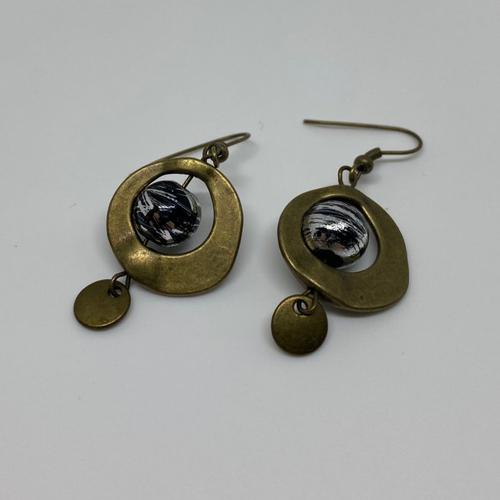Boucles d'oreilles noir et bronze