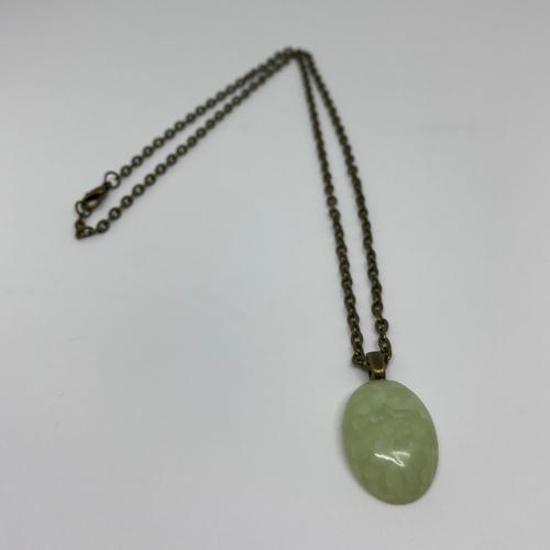 Collier fimo vert effet jade