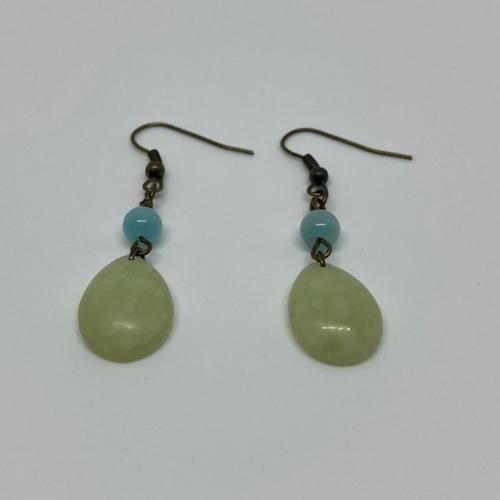 Boucles d'oreilles fimo vert effet jade - 2