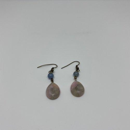 Boucles d'oreilles fimo rose effet quartz - 1